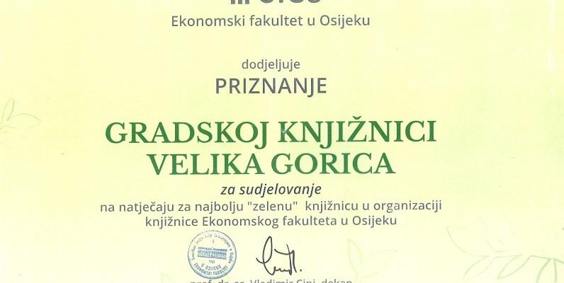 Priznanje Gradskoj knjižnici Velika Gorica